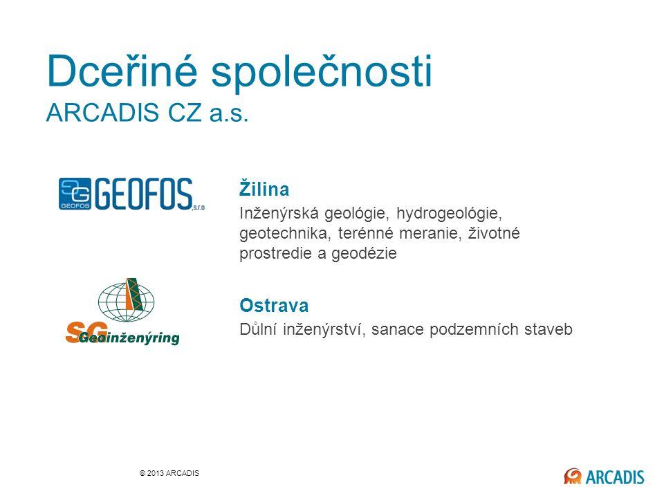 Žilina Inženýrská geológie, hydrogeológie, geotechnika, terénné meranie, životné prostredie a geodézie Ostrava Důlní inženýrství, sanace podzemních staveb Dceřiné společnosti ARCADIS CZ a.s.