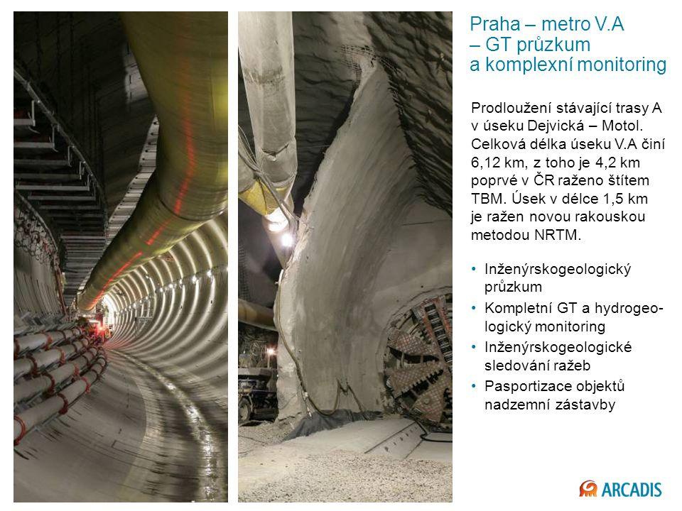 Imagine the result Praha – metro V.A – GT průzkum a komplexní monitoring Prodloužení stávající trasy A v úseku Dejvická – Motol.