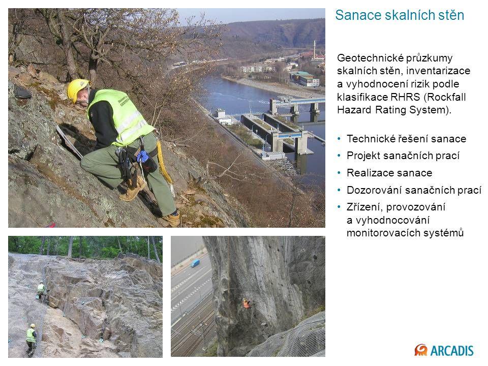 Sanace skalních stěn Geotechnické průzkumy skalních stěn, inventarizace a vyhodnocení rizik podle klasifikace RHRS (Rockfall Hazard Rating System).