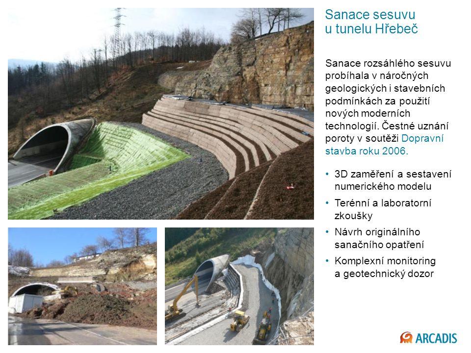 Imagine the result Sanace sesuvu u tunelu Hřebeč Sanace rozsáhlého sesuvu probíhala v náročných geologických i stavebních podmínkách za použití nových moderních technologií.