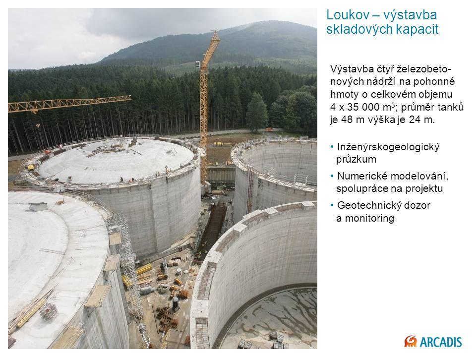 Imagine the result Loukov – výstavba skladových kapacit Výstavba čtyř železobeto- nových nádrží na pohonné hmoty o celkovém objemu 4 x 35 000 m 3 ; průměr tanků je 48 m výška je 24 m.
