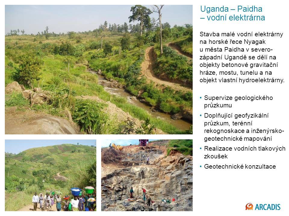 Imagine the result Uganda – Paidha – vodní elektrárna Stavba malé vodní elektrárny na horské řece Nyagak u města Paidha v severo- západní Ugandě se dělí na objekty betonové gravitační hráze, mostu, tunelu a na objekt vlastní hydroelektrárny.