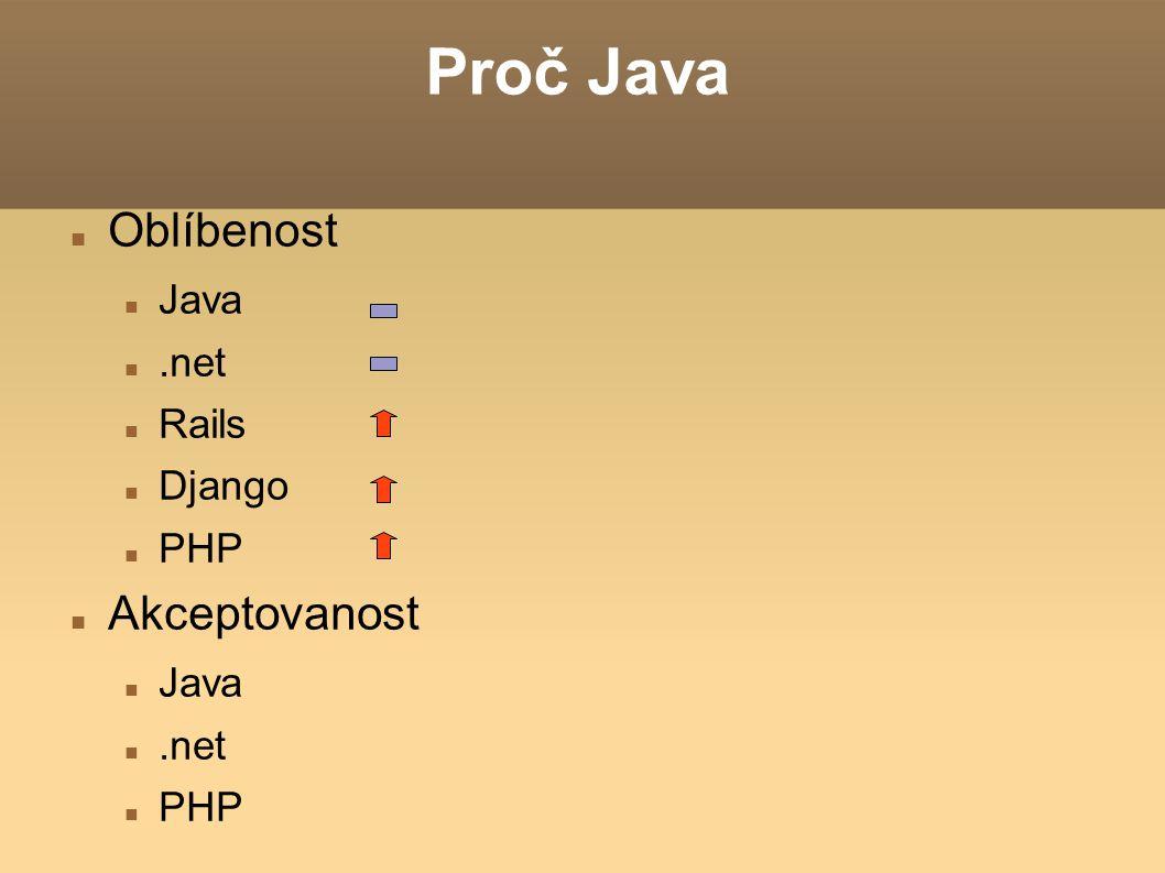 Proč Java Oblíbenost Java.net Rails Django PHP Akceptovanost Java.net PHP