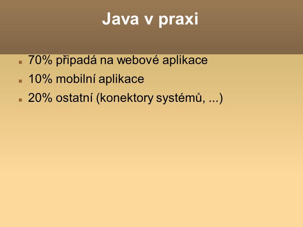 Java v praxi 70% připadá na webové aplikace 10% mobilní aplikace 20% ostatní (konektory systémů,...)