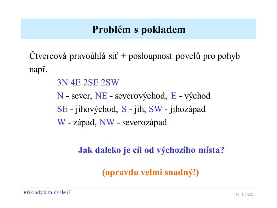 TI 1 / 20 Problém s pokladem Čtvercová pravoúhlá síť + posloupnost povelů pro pohyb např. 3N 4E 2SE 2SW N - sever, NE - severovýchod, E - východ SE -