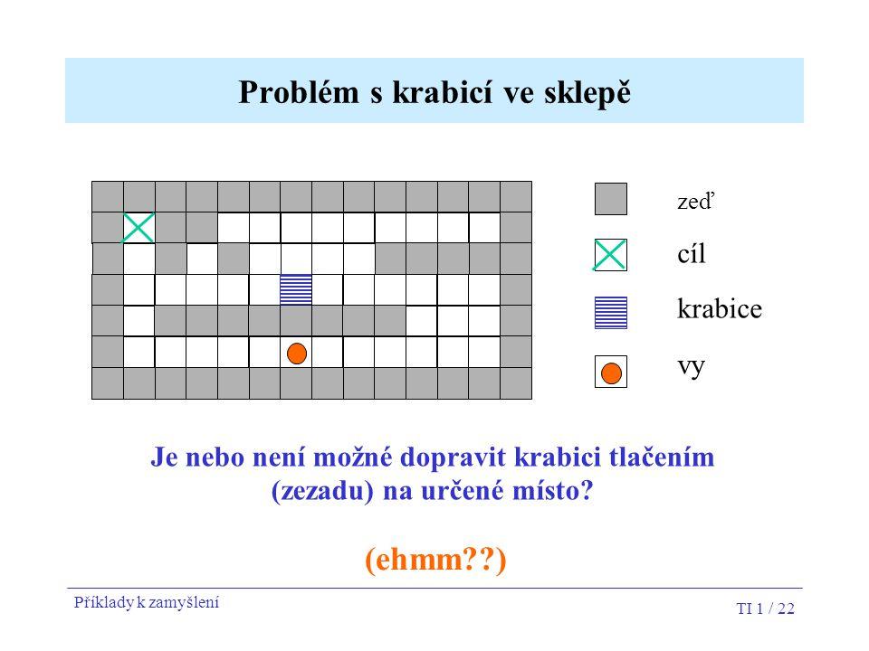 TI 1 / 22 Problém s krabicí ve sklepě zeď cíl krabice vy Je nebo není možné dopravit krabici tlačením (zezadu) na určené místo? (ehmm??) Příklady k za