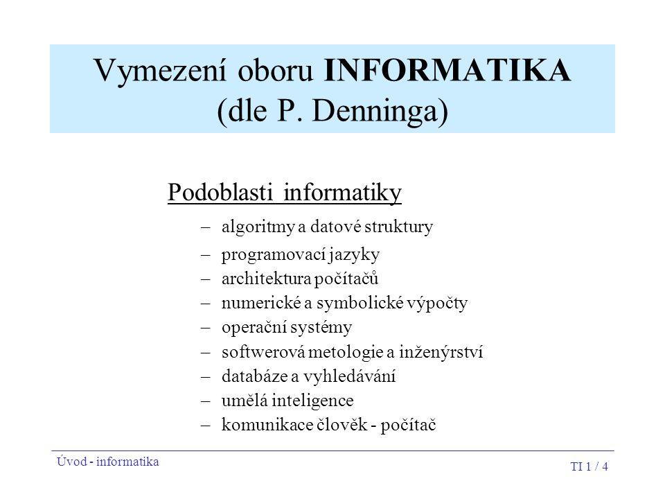 TI 1 / 4 Vymezení oboru INFORMATIKA (dle P. Denninga) Podoblasti informatiky –algoritmy a datové struktury –programovací jazyky –architektura počítačů