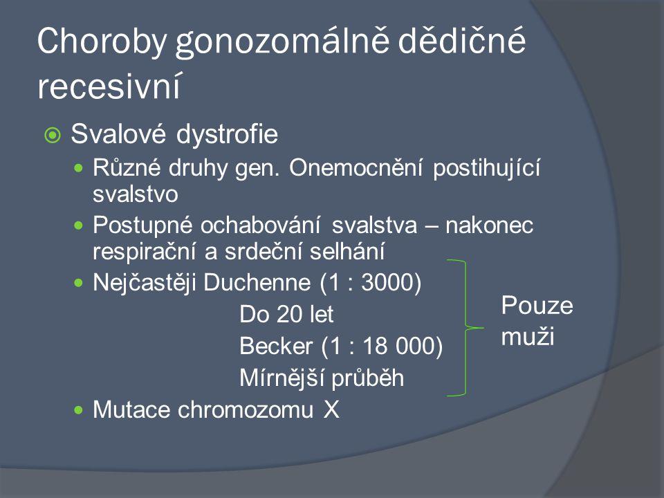 Choroby gonozomálně dědičné recesivní  Svalové dystrofie Různé druhy gen. Onemocnění postihující svalstvo Postupné ochabování svalstva – nakonec resp