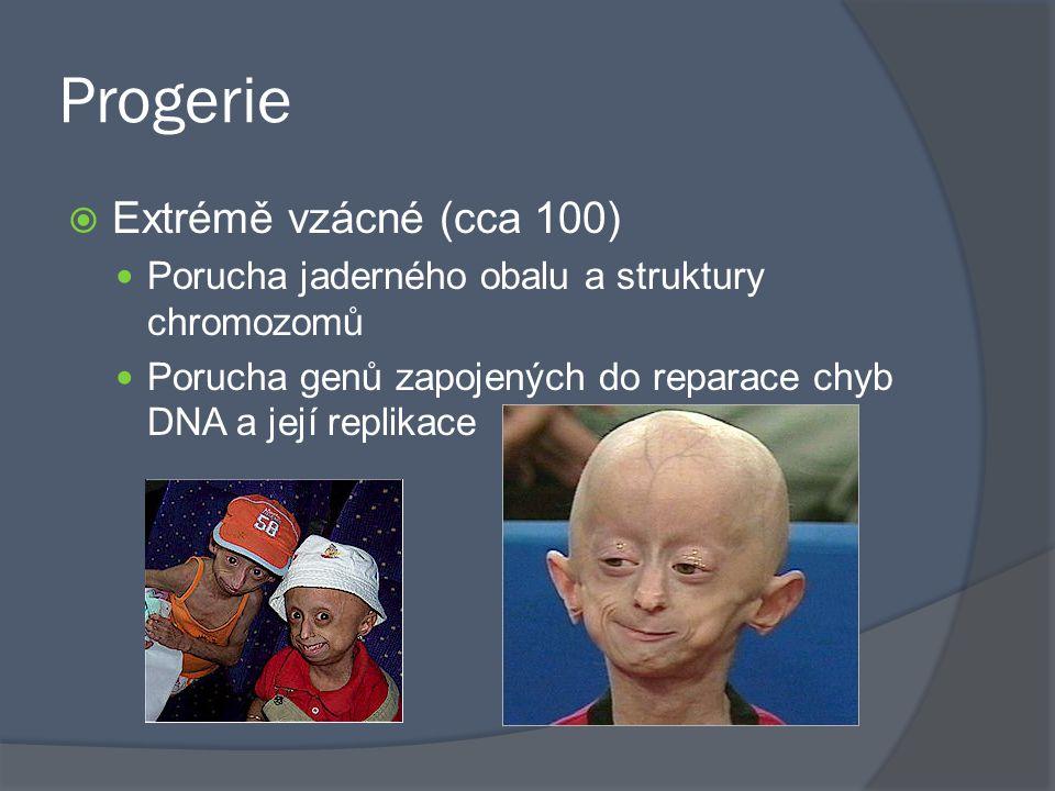 Progerie  Extrémě vzácné (cca 100) Porucha jaderného obalu a struktury chromozomů Porucha genů zapojených do reparace chyb DNA a její replikace
