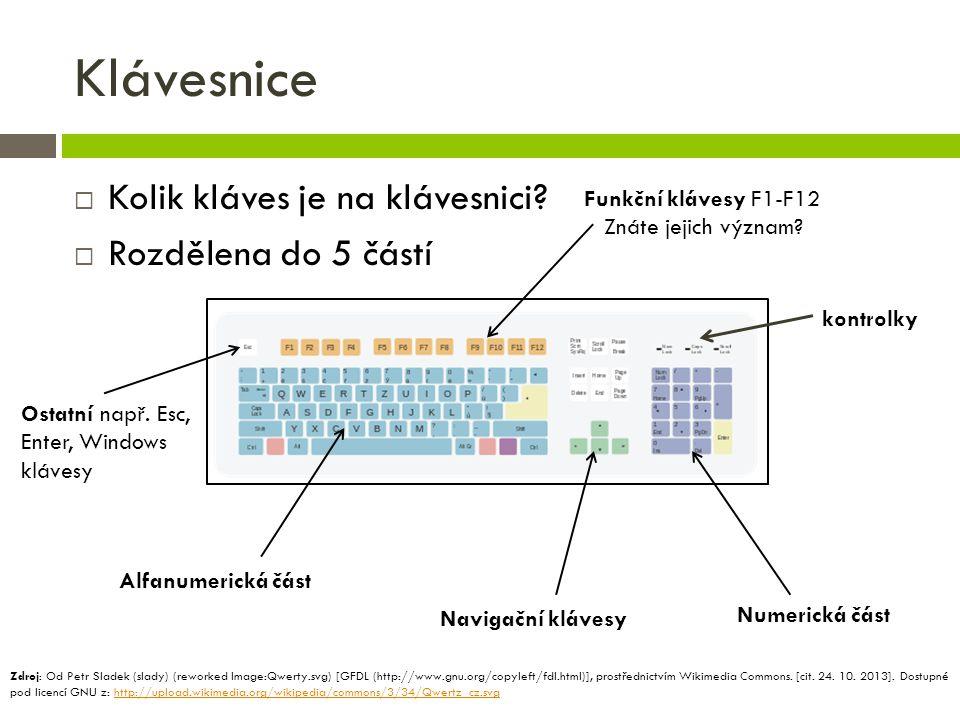 Klávesnice  Kolik kláves je na klávesnici?  Rozdělena do 5 částí Funkční klávesy F1-F12 Znáte jejich význam? Ostatní např. Esc, Enter, Windows kláve