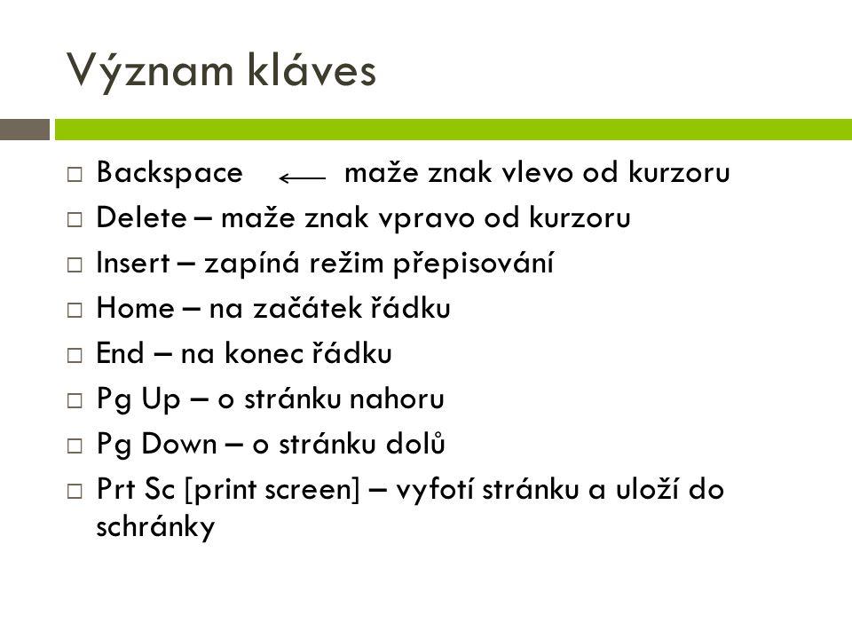 Význam kláves  Backspace maže znak vlevo od kurzoru  Delete – maže znak vpravo od kurzoru  Insert – zapíná režim přepisování  Home – na začátek řá