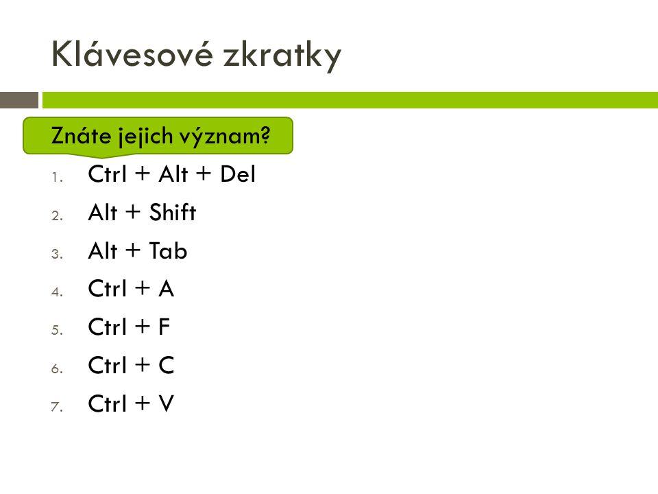 Klávesové zkratky Znáte jejich význam? 1. Ctrl + Alt + Del 2. Alt + Shift 3. Alt + Tab 4. Ctrl + A 5. Ctrl + F 6. Ctrl + C 7. Ctrl + V