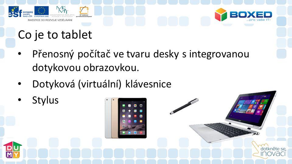Co je to tablet Přenosný počítač ve tvaru desky s integrovanou dotykovou obrazovkou.