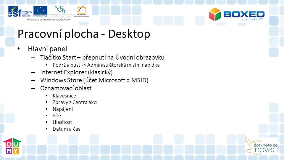 Pracovní plocha - Desktop Hlavní panel – Tlačítko Start – přepnutí na Úvodní obrazovku Podrž a pusť -> Administrátorská místní nabídka – Internet Explorer (klasický) – Windows Store (účet Microsoft = MSID) – Oznamovací oblast Klávesnice Zprávy z Centra akcí Napájení Sítě Hlasitost Datum a čas