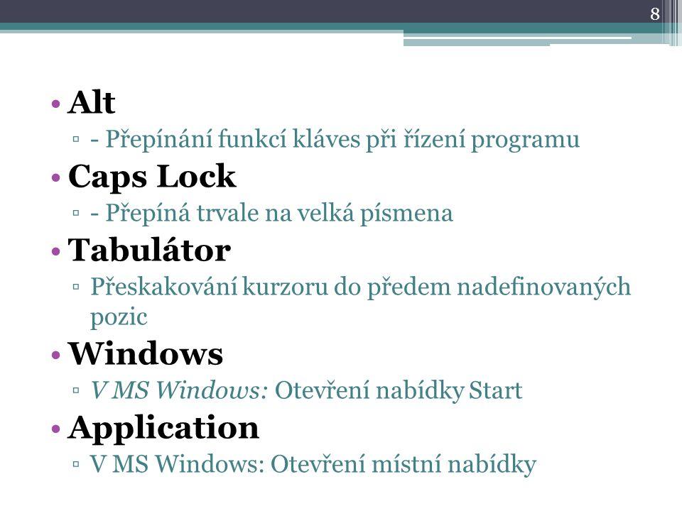 Alt ▫- Přepínání funkcí kláves při řízení programu Caps Lock ▫- Přepíná trvale na velká písmena Tabulátor ▫Přeskakování kurzoru do předem nadefinovaných pozic Windows ▫V MS Windows: Otevření nabídky Start Application ▫V MS Windows: Otevření místní nabídky 8