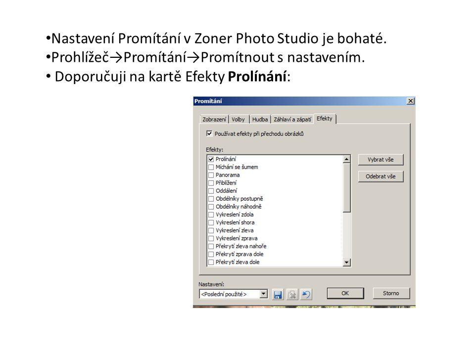Nastavení Promítání v Zoner Photo Studio je bohaté.