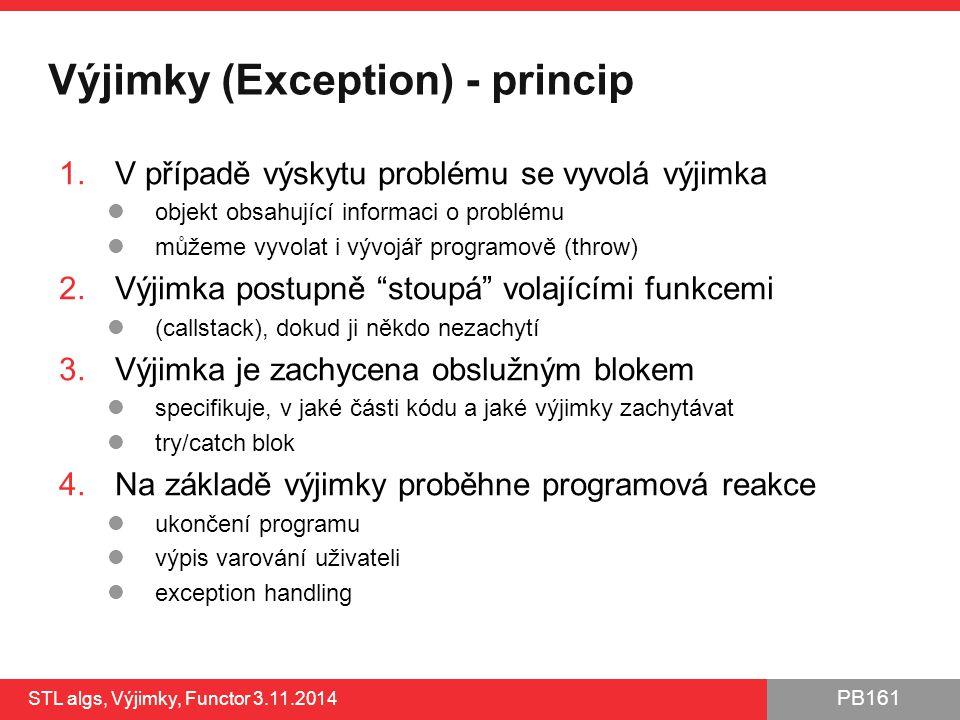 PB161 Výjimky (Exception) - princip 1.V případě výskytu problému se vyvolá výjimka objekt obsahující informaci o problému můžeme vyvolat i vývojář pro