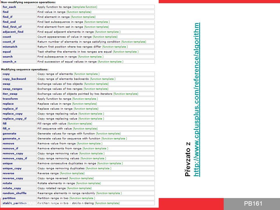 PB161 Ukázka STL algs, Výjimky, Functor 3.11.2014 29 int main() { cout << Code before exception handling << endl; try { Person p1( Pepa Novak ); // No problem Person p2( ); p1.print(); p2.print(); } catch (WrongNameExceptionExt& ex) { cout << WrongNameExceptionEx: << ex.what(); } cout << Continuing after block with exception handling ; return 0; } class Person { std::string m_name; public: Person(const std::string name) : m_name(name) { if (m_name.size() == 0) throw WrongNameExceptionExt( Invalid empty name ); } void print() const { cout << m_name << endl; } }; Výjimka vyvolána Výjimka zachycena, obsloužena a zaniká Kód nebude vykonán Program pokračuje 1.