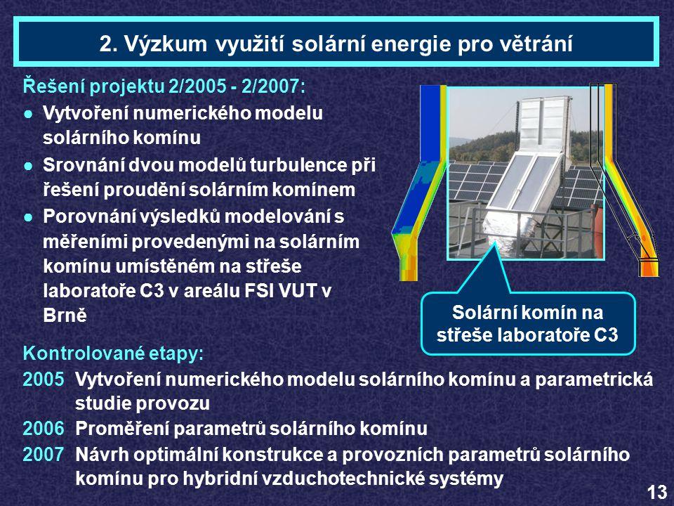Ing. Marek SCHOLLERTéma 2 Řešení projektu 2/2005 - 2/2007: ●Vytvoření numerického modelu solárního komínu ●Srovnání dvou modelů turbulence při řešení