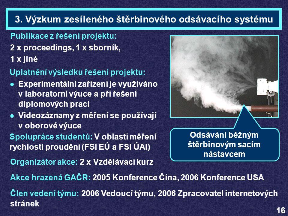 Organizátor akce: 2 x Vzdělávací kurz Akce hrazená GAČR: 2005 Konference Čína, 2006 Konference USA 3. Výzkum zesíleného štěrbinového odsávacího systém