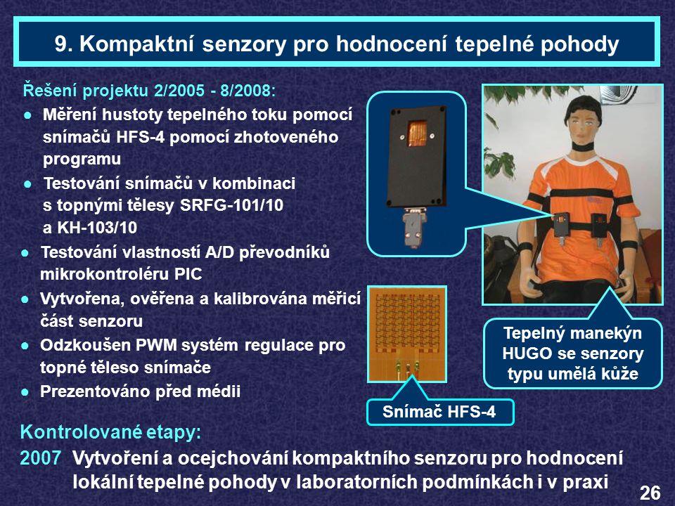 Ing. Daniel ZuthTéma 9 9. Kompaktní senzory pro hodnocení tepelné pohody Řešení projektu 2/2005 - 8/2008: ●Měření hustoty tepelného toku pomocí snímač