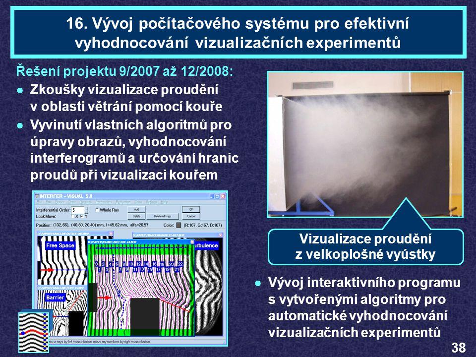 Mgr. Tomáš PAVELEKTéma 16 16. Vývoj počítačového systému pro efektivní vyhodnocování vizualizačních experimentů Vizualizace proudění z velkoplošné vyú