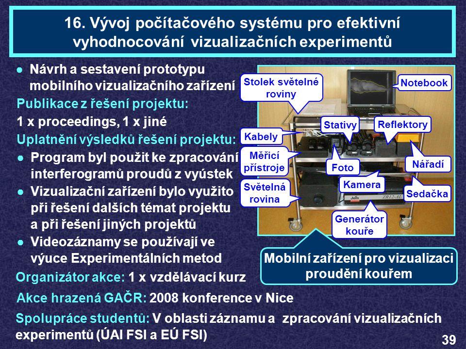16. Vývoj počítačového systému pro efektivní vyhodnocování vizualizačních experimentů Publikace z řešení projektu: 1 x proceedings, 1 x jiné Uplatnění