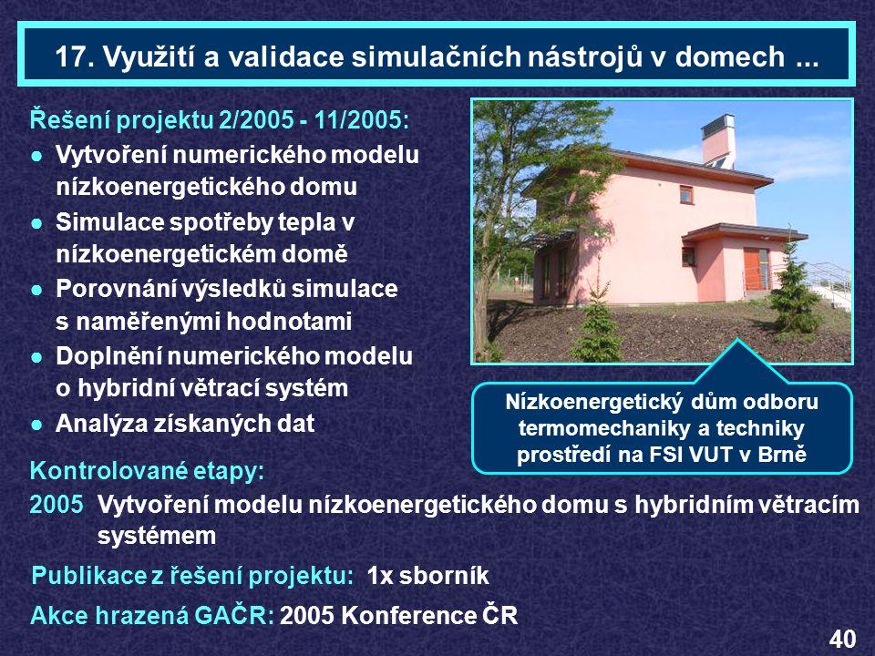 Ing. Zdeněk DESTéma 17 Řešení projektu 2/2005 - 11/2005: ●Vytvoření numerického modelu nízkoenergetického domu ●Simulace spotřeby tepla v nízkoenerget