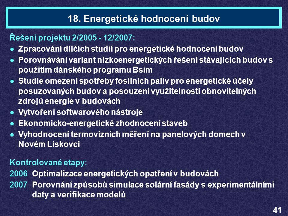 Ing. Ondřej MišákTéma 18 Řešení projektu 2/2005 - 12/2007: ●Zpracování dílčích studií pro energetické hodnocení budov ●Porovnávání variant nízkoenerge