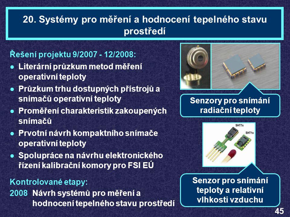 Ing. Jan JANEČKATéma 20 Řešení projektu 9/2007 - 12/2008: ●Literární průzkum metod měření operativní teploty ●Průzkum trhu dostupných přístrojů a sním