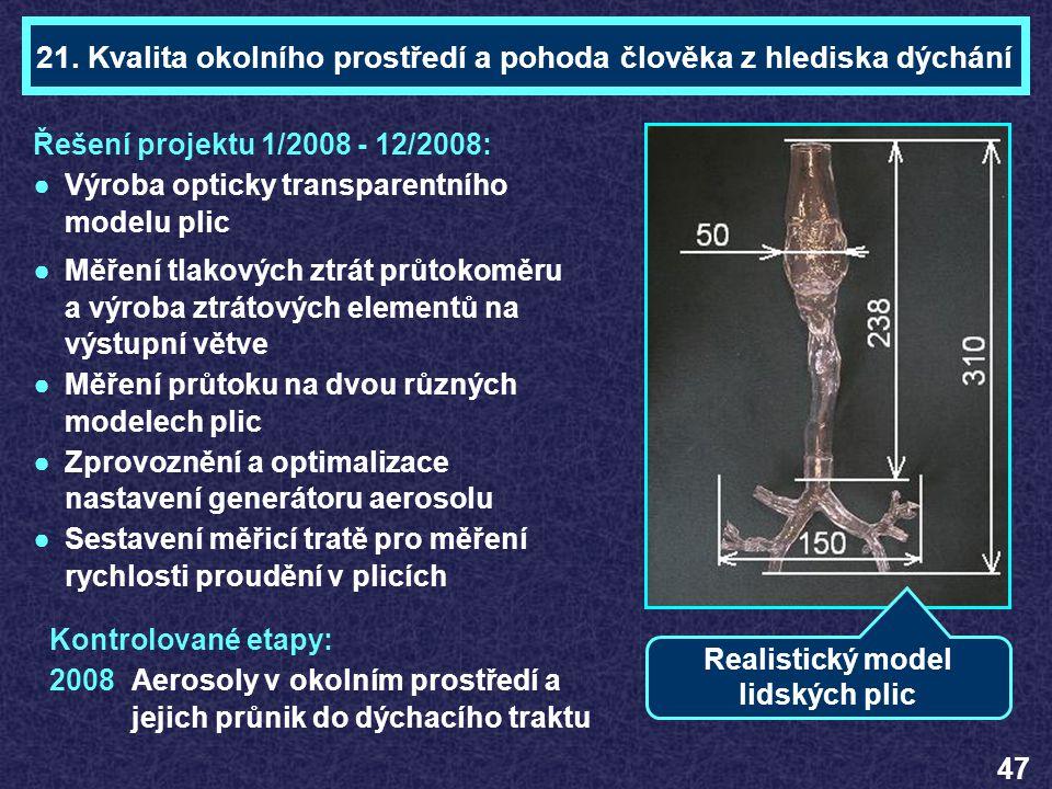 Ing. František LÍZALTéma 21 Řešení projektu 1/2008 - 12/2008: ●Výroba opticky transparentního modelu plic ●Měření tlakových ztrát průtokoměru a výroba