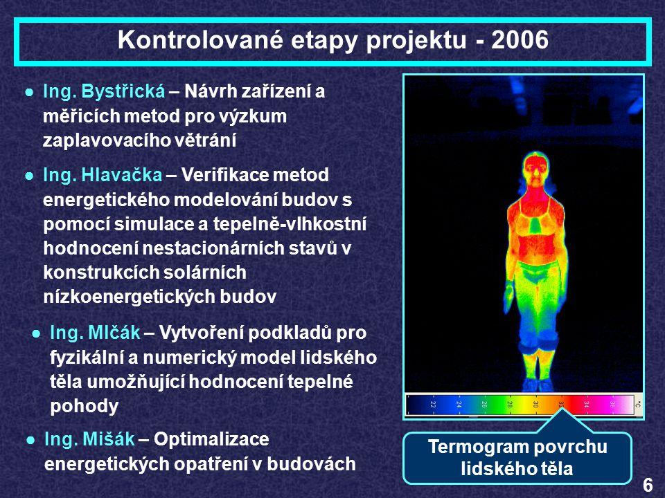 Kontrolované etapy projektu - 2006 6 ●Ing. Bystřická – Návrh zařízení a měřicích metod pro výzkum zaplavovacího větrání ●Ing. Hlavačka – Verifikace me