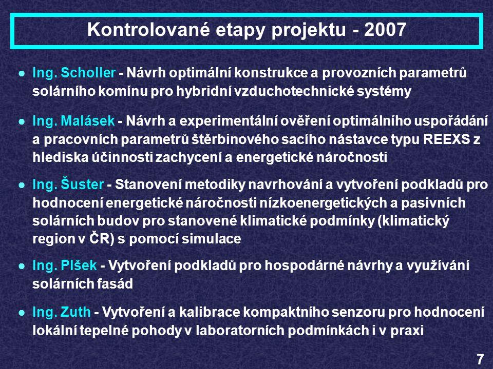 Kontrolované etapy projektu - 2007 7 ●Ing. Scholler - Návrh optimální konstrukce a provozních parametrů solárního komínu pro hybridní vzduchotechnické