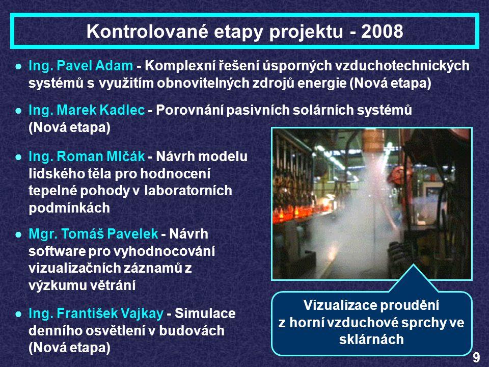 Kontrolované etapy projektu - 2008 9 ●Ing. Roman Mlčák - Návrh modelu lidského těla pro hodnocení tepelné pohody v laboratorních podmínkách ●Mgr. Tomá