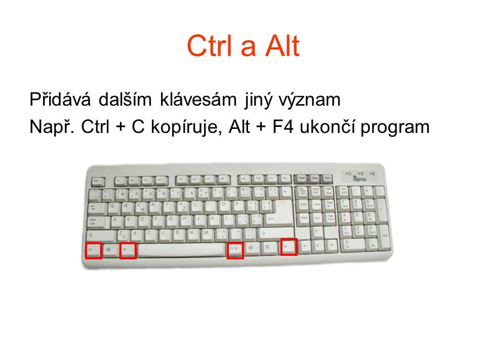 Ctrl a Alt Přidává dalším klávesám jiný význam Např. Ctrl + C kopíruje, Alt + F4 ukončí program