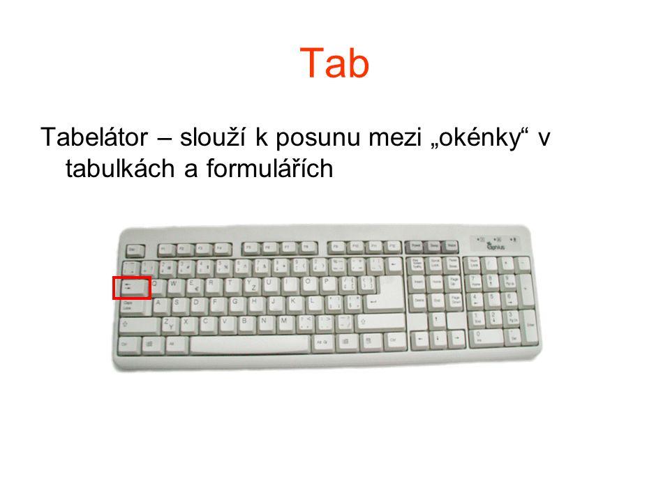 """Tab Tabelátor – slouží k posunu mezi """"okénky"""" v tabulkách a formulářích"""