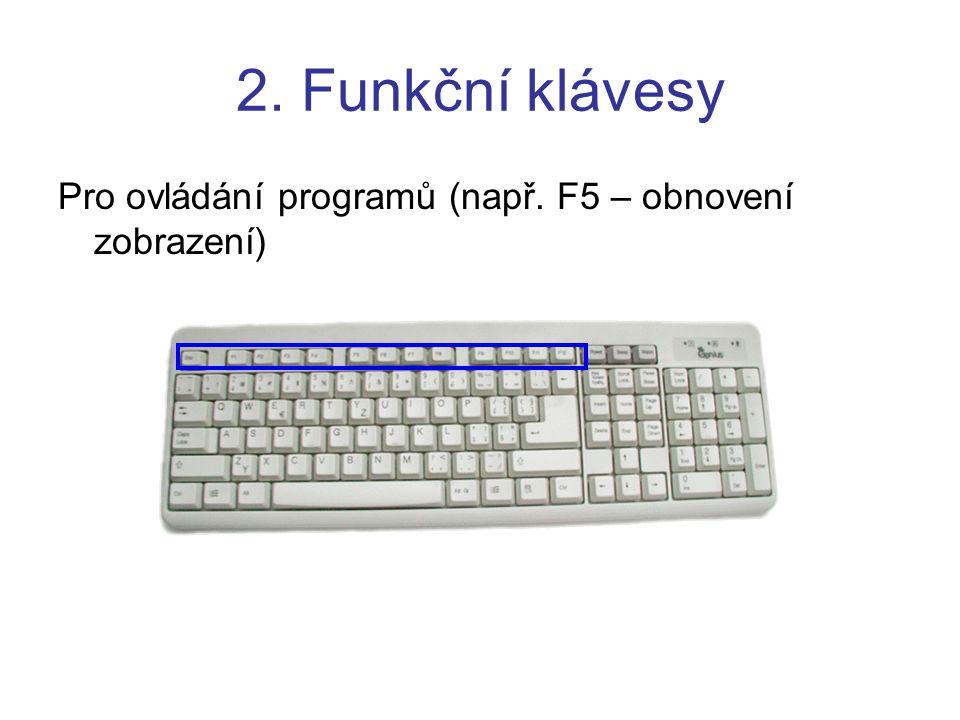 2. Funkční klávesy Pro ovládání programů (např. F5 – obnovení zobrazení)