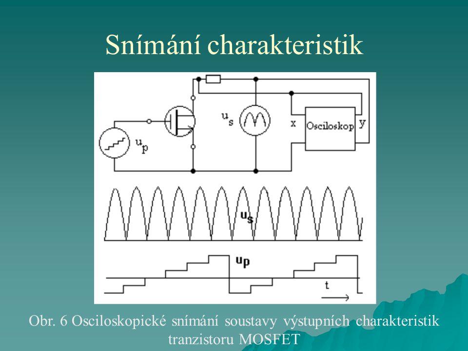 Snímání charakteristik Obr. 6 Osciloskopické snímání soustavy výstupních charakteristik tranzistoru MOSFET