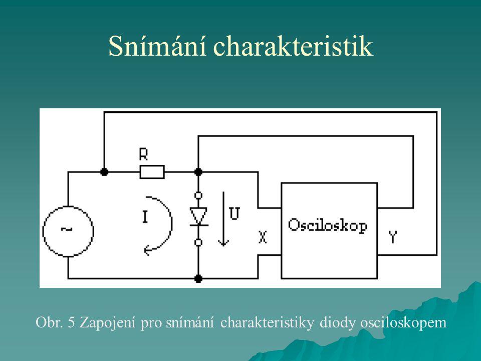 Snímání charakteristik Obr. 5 Zapojení pro snímání charakteristiky diody osciloskopem