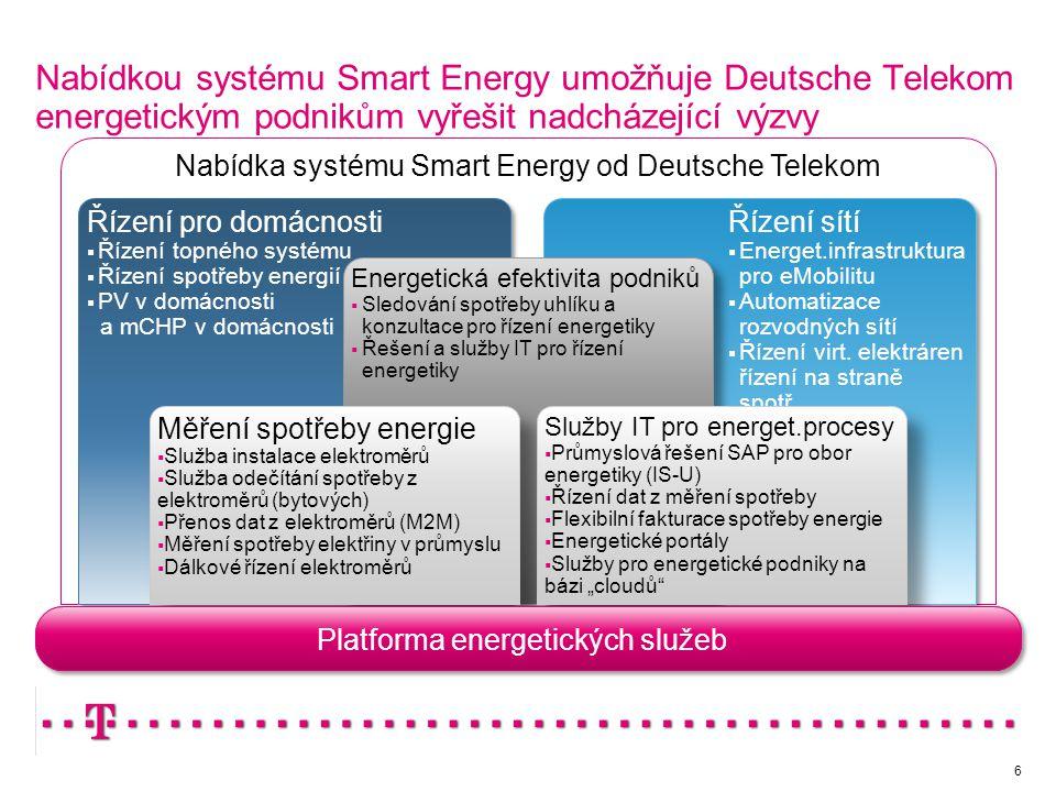 6 Nabídkou systému Smart Energy umožňuje Deutsche Telekom energetickým podnikům vyřešit nadcházející výzvy Platforma energetických služeb