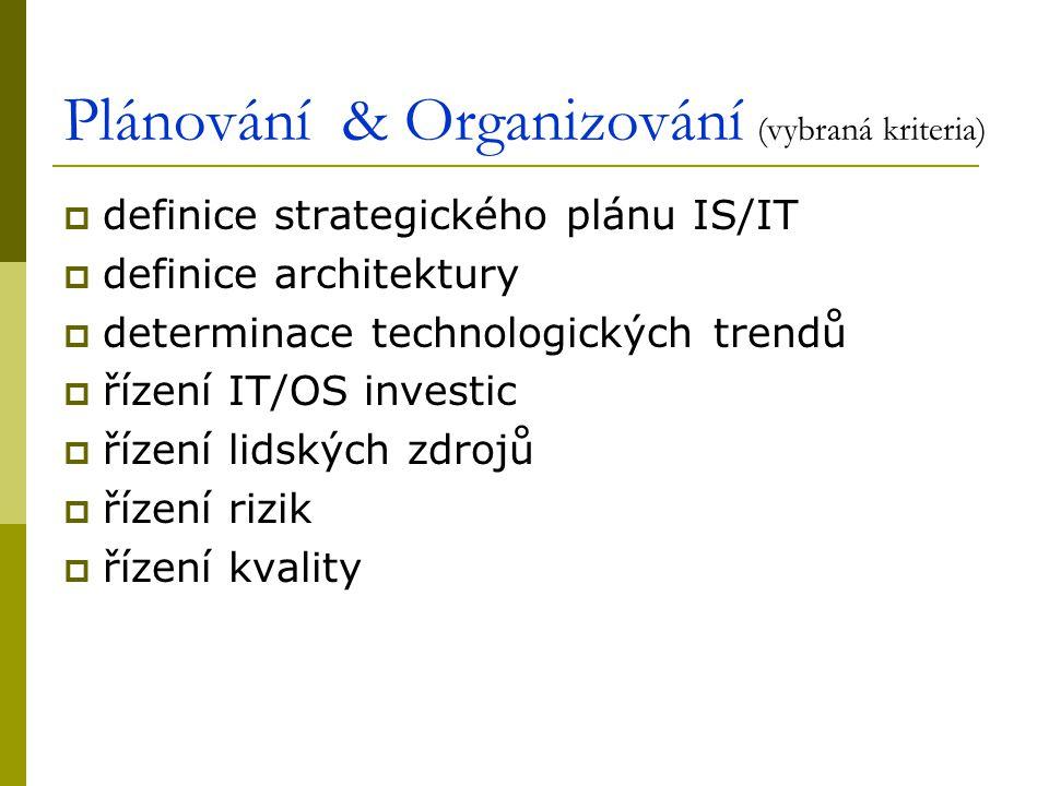 Plánování & Organizování (vybraná kriteria)  definice strategického plánu IS/IT  definice architektury  determinace technologických trendů  řízení