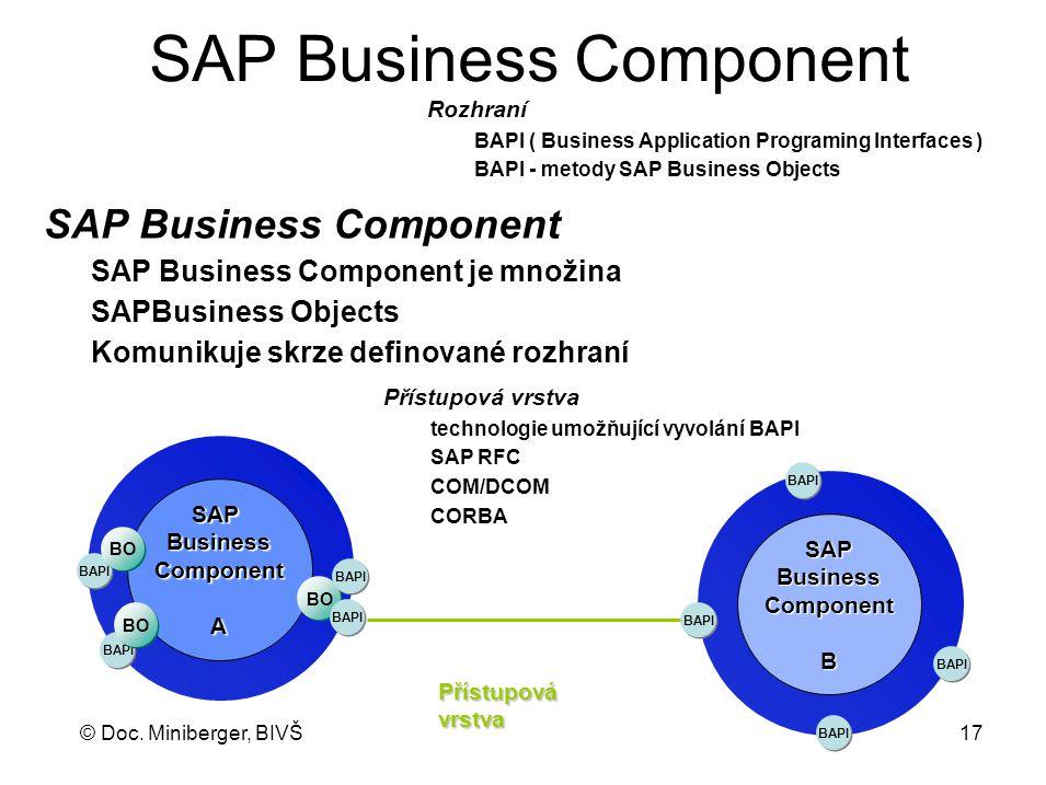 © Doc. Miniberger, BIVŠ 17 SAP Business Component SAPBusinessComponentA BAPI BO BAPI BO SAPBusinessComponentB BAPI Přístupovávrstva SAP Business Compo
