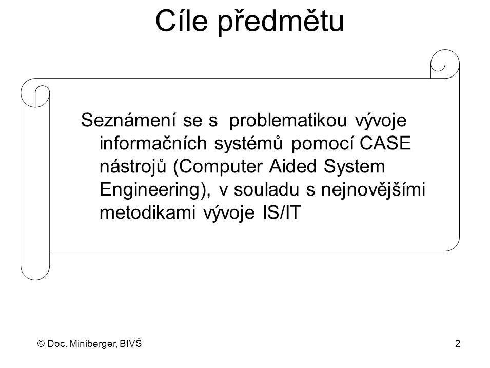 © Doc. Miniberger, BIVŠ 2 Cíle předmětu Seznámení se s problematikou vývoje informačních systémů pomocí CASE nástrojů (Computer Aided System Engineeri