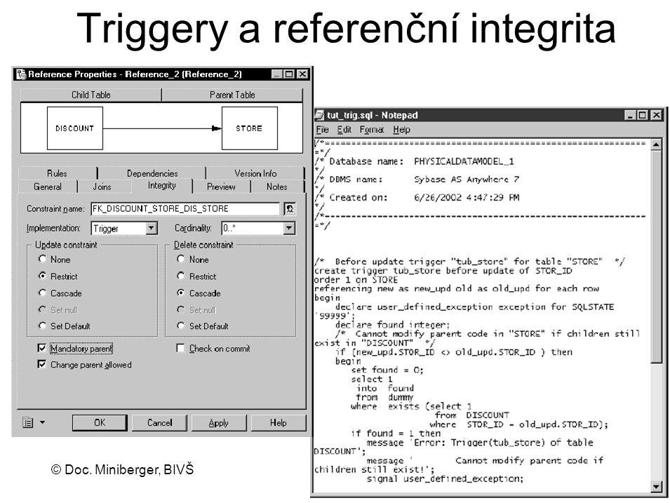 © Doc. Miniberger, BIVŠ 21 Triggery a referenční integrita
