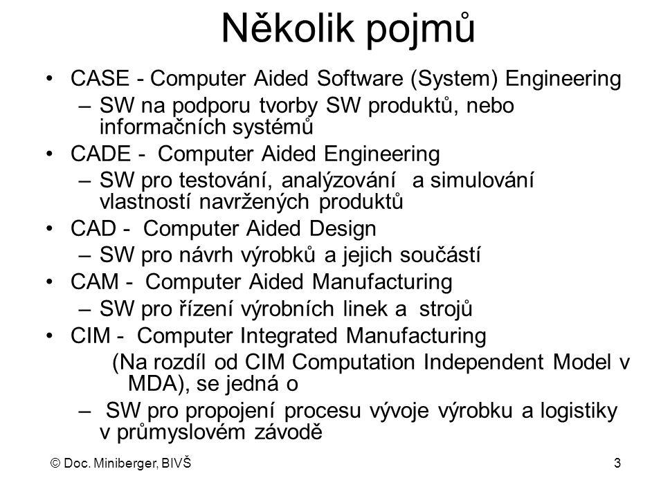 © Doc. Miniberger, BIVŠ 3 Několik pojmů CASE - Computer Aided Software (System) Engineering –SW na podporu tvorby SW produktů, nebo informačních systé