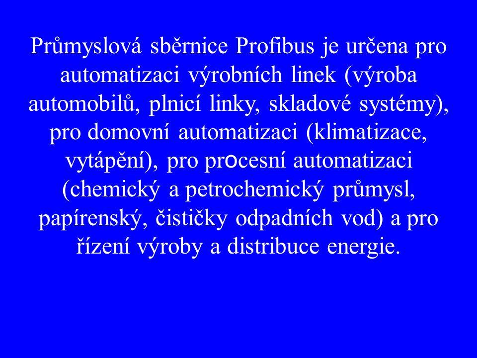 Průmyslová sběrnice Profibus je určena pro automatizaci výrobních linek (výroba automobilů, plnicí linky, skladové systémy), pro domovní automatizaci (klimatizace, vytápění), pro pr o cesní automatizaci (chemický a petrochemický průmysl, papírenský, čističky odpadních vod) a pro řízení výroby a distribuce energie.