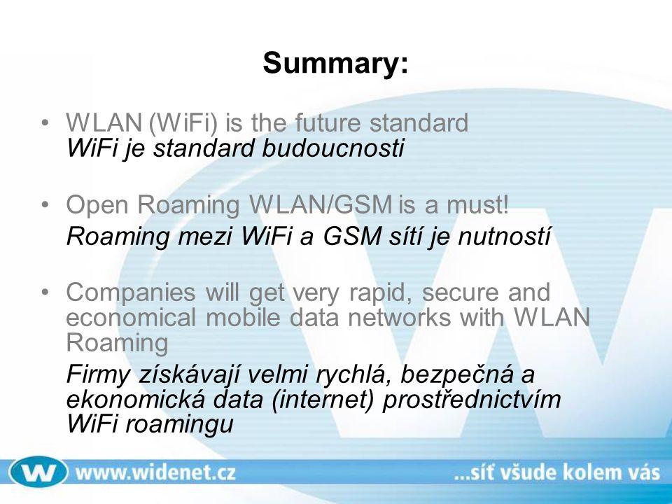 Summary: WLAN (WiFi) is the future standard WiFi je standard budoucnosti Open Roaming WLAN/GSM is a must! Roaming mezi WiFi a GSM sítí je nutností Com