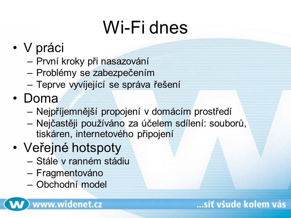 Wi-Fi dnes V práci –První kroky při nasazování –Problémy se zabezpečením –Teprve vyvíjející se správa řešení Doma –Nejpříjemnější propojení v domácím