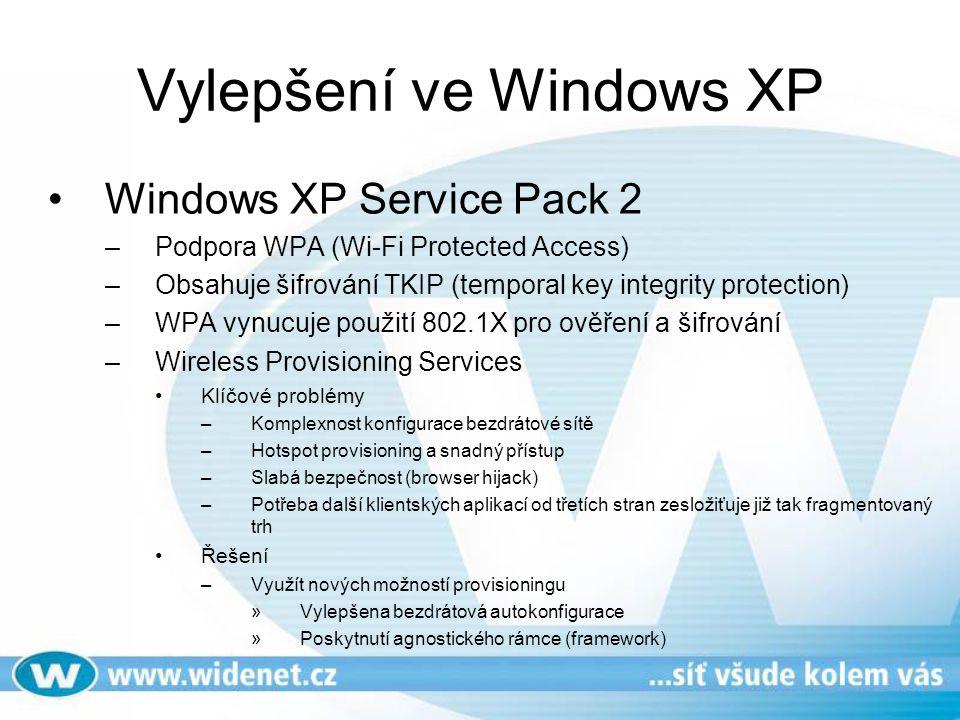 Vylepšení ve Windows XP Windows XP Service Pack 2 –Podpora WPA (Wi-Fi Protected Access) –Obsahuje šifrování TKIP (temporal key integrity protection) –