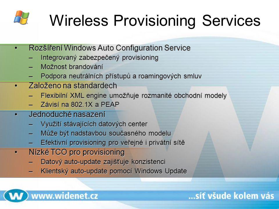Wireless Provisioning Services Rozšíření Windows Auto Configuration ServiceRozšíření Windows Auto Configuration Service –Integrovaný zabezpečený provi